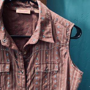 Western Snap Front Sleeveless Shirt / Top